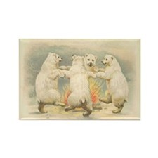 Polar Bears Dancing Around FIre Rectangle Magnet