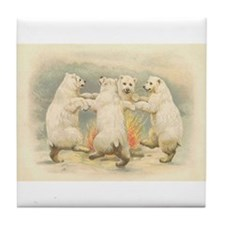 Polar Bears Dancing Around Fire Tile Coaster