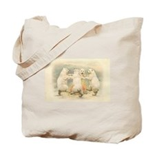 Polar Bears Dancing Around Fire Tote Bag