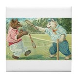 Bears Playing Tennis Vintage Art Tile Coaster