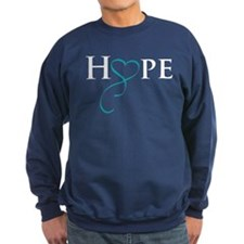 Cute Gynecologic cancer teal ribbon Sweatshirt