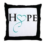Cute Gynecologic cancer cancer teal ribbon Throw Pillow