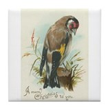 Goldfinch Bird Vintage Christmas Art Tile Coaster