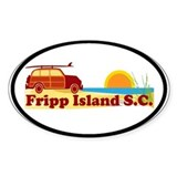 Fripp Island - Surfing Design. Oval Decal