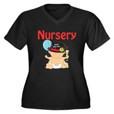 Nursery Women's Plus Size V-Neck Dark T-Shirt