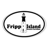 Fripp Island - Lighthouse Design Oval Decal