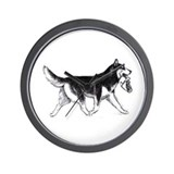 Cute Siberian huskies Wall Clock