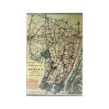 Bergen County NJ Vintage Map Rectangle Magnet