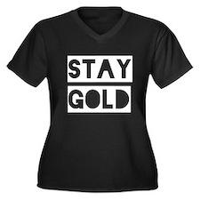 Stay Gold (White) Women's Plus Size V-Neck Dark T-