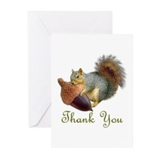 Squirrel Acorn Thank You Greeting Cards (Pk of 20)