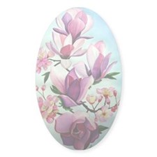 Magnolias Oval Sticker (10 pk)