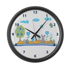 Blue baby design Large Wall Clock