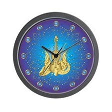 Golden Winged Violin Wall Clock