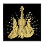 Golden Winged Violin Tile Coaster