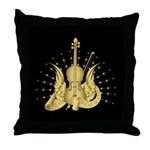Golden Winged Violin Throw Pillow