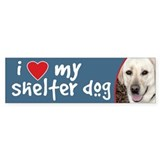 I Love My Shelter Dog White Lab Bumper Bumper Sticker