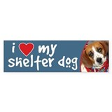 I Love My Shelter Dog bumper sticker - beagle