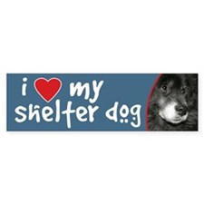I Love My Shelter Dog bumper sticker - chow mix