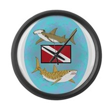 Dive Sharks Large Wall Clock