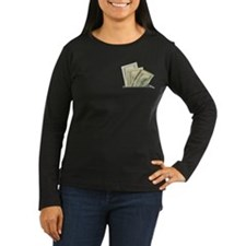 Fake Money Pocket Women Long Sleeve Dark T