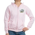Silkie Chickens Self Blue Women's Zip Hoodie