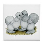 Silkie Chickens Self Blue Tile Coaster