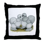 Silkie Chickens Self Blue Throw Pillow