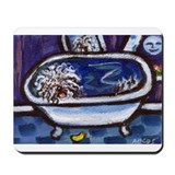White Puli bath Mousepad