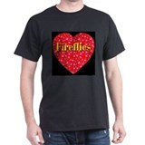Fireflies Red Hot Heart Black T-Shirt