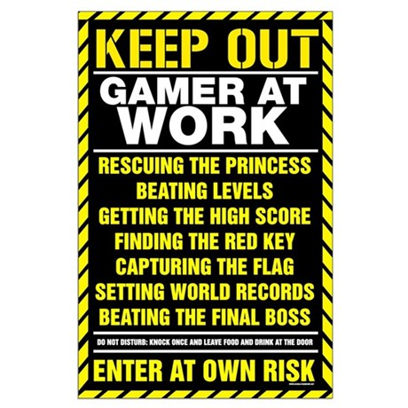Gamer At Work Large Poster