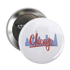 "Chicago Skyline and Red Script 2.25"" Button"
