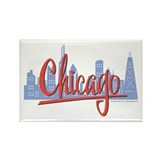 Chicago Skyline and Red Script Rectangle Magnet (1