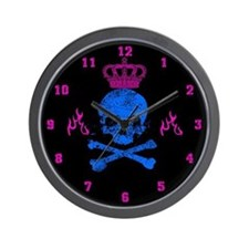 Wall Clock Skull with crown and flames