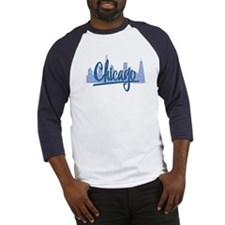 Chicago Skyline and Dark Blue Script Baseball Jers