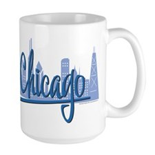 Chicago Skyline and Dark Blue Script Coffee Mug