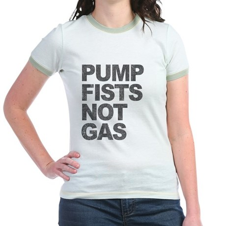 Pump Fists Not Gas Jr Ringer T-Shirt