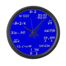 Blue Faced Math Large Wall Clock