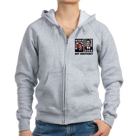 Reagan HERO, Obama ZERO. Any Women's Zip Hoodie