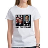 Reagan HERO, Obama ZERO. Any Tee