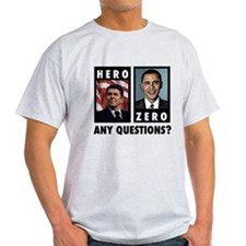 Reagan HERO, Obama ZERO. Any T-Shirt