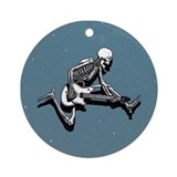 Skeleton Guitarist Jump Ornament (Round)
