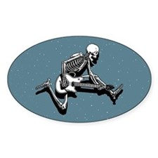 Skeleton Guitarist Jump Oval Decal