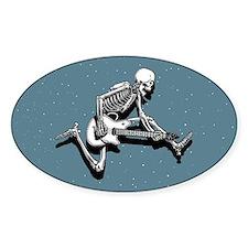 Skeleton Guitarist Jump Oval Decal