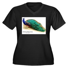 Indian Peacock Women's Plus Size V-Neck Dark T-Shi