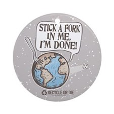 Stick A Fork Earth Ornament (Round)