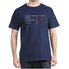 Emergency Comm Checklist Black T-Shirt