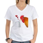 Valentine Rooster in Love Women's V-Neck T-Shirt