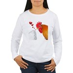 Valentine Rooster in Love Women's Long Sleeve T-Sh