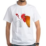 Valentine Rooster in Love White T-Shirt