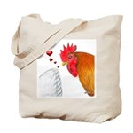 Valentine Rooster in Love Tote Bag